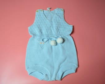 Vintage Blue Knit Sweater Outfit for a Baby Made in Israel