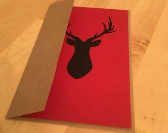 Christmas Card: Deer, Postcard, card, cutout, paper, blank, holiday, merry christmas