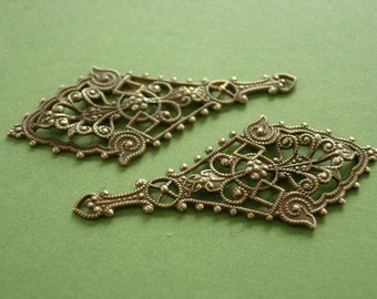 Etruscan drop Vintaj Messing etruskischen Drop filigran, Messing filigran, filigran, 2 Stück