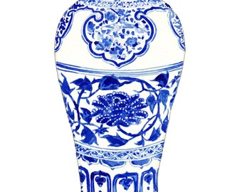 Blue and White Ginger Jar Print 3 Blue and White Art Ginger Jar Painting Chinoiserie Art Asian Art Asian Wall Decor Chinese Painting