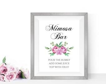 Mimosa bar sign, Bridal shower printable signs, Bar sign wedding, PRINTABLE Wedding signs, Bridal shower mimosa bar, Baby shower mimosa bar