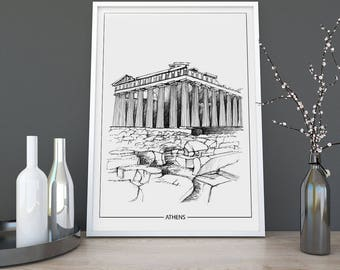 Athens, Architecture Print, Poster, Instant Digital Download, Gift, Christmas Gift, Minimalist, Printable Art, Modern Design