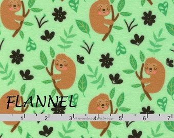 Flannel Sloth Fabric, Sloth Flannel Quilt Fabric, Timeless Treasures Fun CF5435, Sloth Quilt Flannel Fabric, Cotton Flannel Yardage