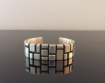 Vintage Mexican Heavy Gauge Sterling Silver Cuff//Bold Geometric Bracelet//Post-Modernist Industrial Silver Cuff//Mexico Silver Bracelet