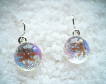 Dragonfly dichroic glass earrings, Fused glass earrings, dangle earrings, Made in Montana