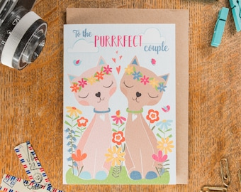 To the Purrrfect Couple Card, Cat Wedding Card, Engagement Card, Mrs and Mrs Card,