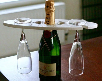Wine caddy, personalised wine butler, wine for two, Wooden Champagne/Wine Bottle and Glass Holder, wedding gift, engagement gift
