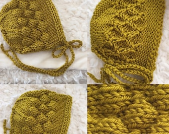 Newborn size knit reversible bonnet, photo prop,gift,coming home ,ready to ship