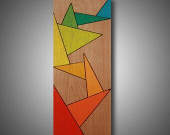 "6.25"" x 15.5"" - ""Wild Mood Swings"" - Abstract Modern Art on Oak - Original Design - Pyrography - Prismacolor Pencils -  Art on Wood"