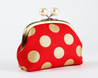 Metal frame coin purse with color bobbles - Golden dots on red - Color smile / Metallic gold / Pearly white