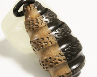 Big Bold African Wood Pendant, Ethnic Ebony Pendant, Jewelry Supplies (AH3)
