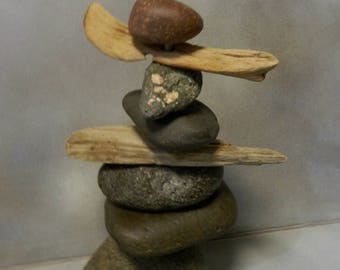 Rock and Driftwood Cairn -- from Lake Superior  -- Item 30 -- Inukshuk