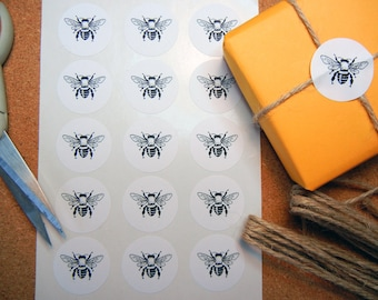 "Honey Bee Sticker - 1"" One Inch Round Sticker Envelope Seals - B&W, Sheets of 15 - by Blossom Arts"