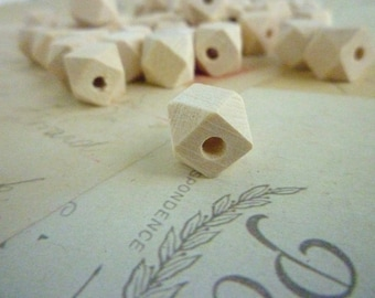 Geometric Wooden Beads - Natural - 10mm - Pack of 20