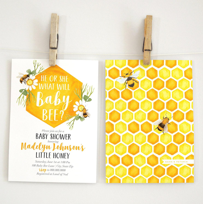 Baby Bee Baby Shower Invitation, Bee Gender Reveal, Honey Bee Shower ...