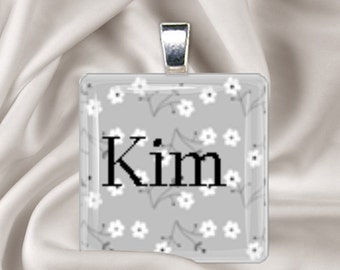 Personalized black and white flower glass tile pendant