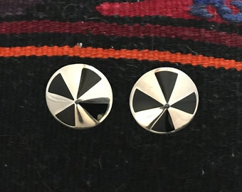 Vintage Taxco Mexico Sterling Silver Inlaid Onyx Round Clip-on Earrings TC-243