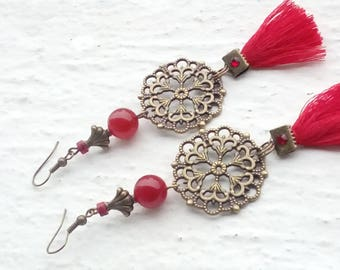 Earrings: Prints - tassels and red stones
