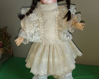 "Antique 16"" Armand Marseille 390 Bisque head composition body Doll w/Antique Clothing"