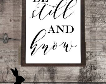 Farmhouse Printable, Be Still And Know, Wall Art, Gallery Wall, Digital Download, Fixer Upper, Wall Decor, Country Chic