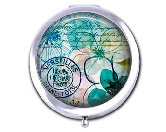 Flower pocket mirror, Versailles postmark compact mirror, watercolor floral bridesmaid gift for her, mothers day gift,  purse mirror.