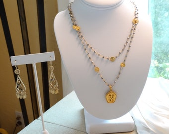 Tibetan Gold Vermeil Locket on Pyrite and Vermeil Necklace