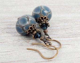 Dusty Blue Earrings, Unique Lampwork Glass Bead Earrings, Rustic Antiqued Bronze Earrings, Denim Blue Lampwork Earrings, Bead Earrings