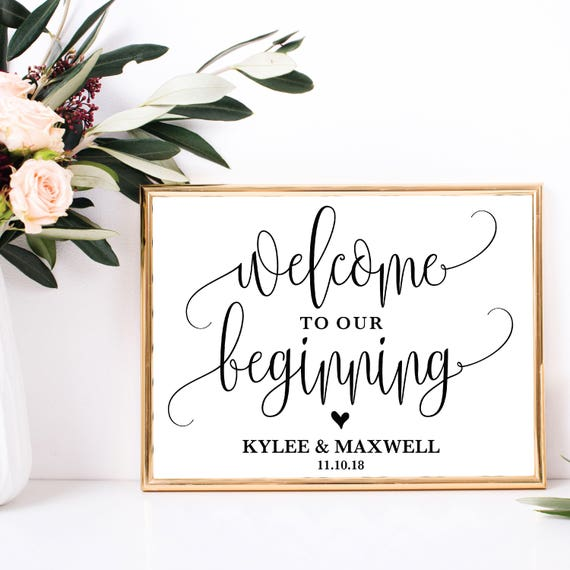 Welcome To Mr Hardison S Page: Welcome To Our Beginning Editable Wedding Sign Personalized