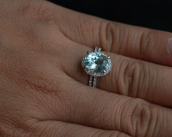 Aquamarine Engagement Ring Diamond Ring in 14k White Gold with Aquamarine Oval 10x8mm and Diamonds
