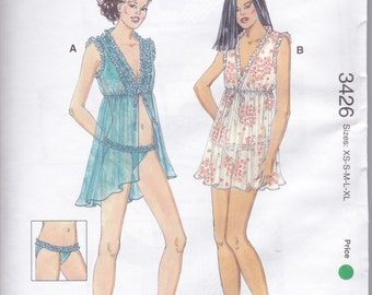 3426 Kwik Sew Gowns and Panties Sewing Pattern Sizes XS-S-M-L-XL OOP Kerstin Martensson