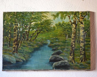 """Antique 19th Century Landscape Painting, Stream with Rocks & Trees, Oil on Canvas, 16"""" x 24"""", Signed"""