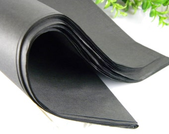 "Black Tissue Paper Jet Black 48 Tissue sheets 20"" X 30"" DIY Wedding Decor - Gift Wrap Idea - Retail Packaging - Classic Black"