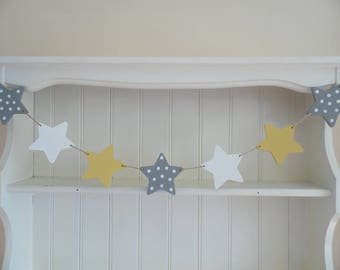 Wooden Star Garland-Grey-Yellow-White-Star Banner-Hand Painted-Wooden Bunting-Bedroom Decor-Nursery Decor-Baby Shower Gift-Gift for Girls