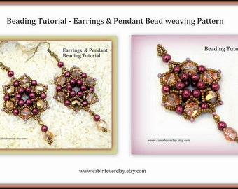 Beading Pattern, Earring beading tutorial, ENGLISH ONLY,  instant download, Seed bead tutorial/pattern, pendant tutorial