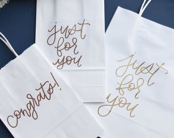 White Gift Sack | Gift Sack | Gift Bag | White Bag | Hand-Lettered Gifts | Calligraphy Gift Bag | Embossed | Embossing