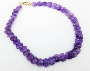 """Natural  Purple Amethyst Disk Bead Choker Necklace - 15"""""""