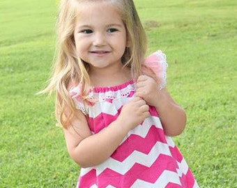 Pink Chevron Top | Spring Top | Size 3 Toddler | De Ateliers Collection | Ellie Ann and Lucy