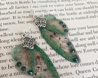 Fairy Flutter Earrings - Emerald Green