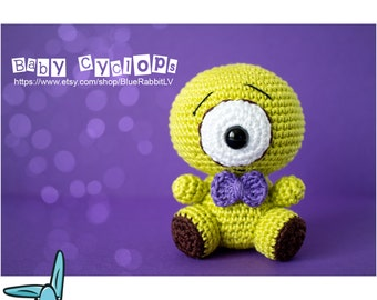 Baby Cyclops - amigurumi crochet pattern. PDF digital file. Language - English