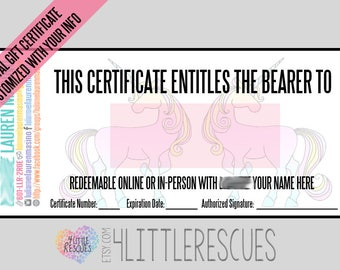 "LLR Custom Gift Certificate | Printable PDF Download | Consultant Gift Card | 3 Per 8.5x11"" Page | Cardstock | Digital Design"