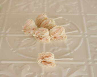 Set of six (6) Chiffon and lace Boutonnieres, Grooms, Best man, Groomsmen Custom made Fabric Buttonholes,