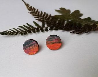 Wood Hand Painted Circle Stud Earrings in Orange and Blue (1cm diameter)