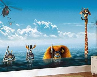 Madagascar Wall mural, Wallpaper, Wall décor, Wall decal, Nursery and room décor, Wall art