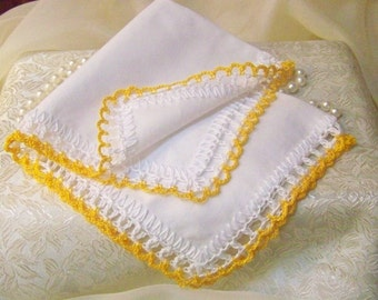 Bridesmaids Handkerchief, Hanky, Hankie, Hand Crochet, Lace, Lacy, Personalized, Monogrammed, Embroidered, Yellow, Custom Colors Welcome