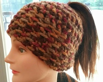 Adult Size Earth Tones Messy Bun Crocheted Beanie