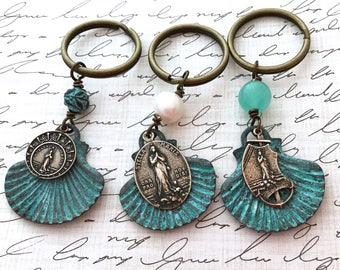 Stella Maris - Our Lady Star of the Sea - Key Chain - Zipper Pull - Purse & Backpack Zipper Pull - Sea Shell Key Chain