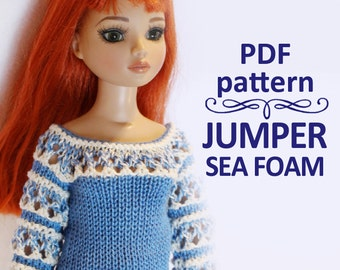 PDF pattern Jumper Sea-foam folk hippie for bjd MSD Minifee, Ellowyne, Tonner & Similar