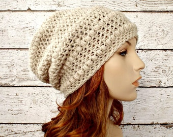 Crochet Hat Womens Hat - Penelope Puff Stitch Slouchy Beanie Hat in Natural Heather Crochet Hat - Oatmeal Hat Womens Accessories Winter Hat