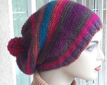 Multicolor slouchy lightweight wool beanie, Handknitted Mohair Beanie,  Womens Winter Beanie, Chunky Winter Hat,slouchy