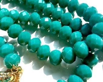 Super long Aqua Aura Quartz necklace